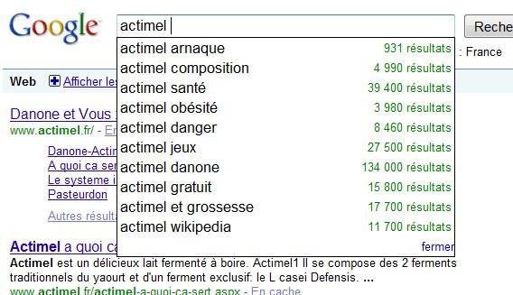 Suggestions Google pour le mot Actimel