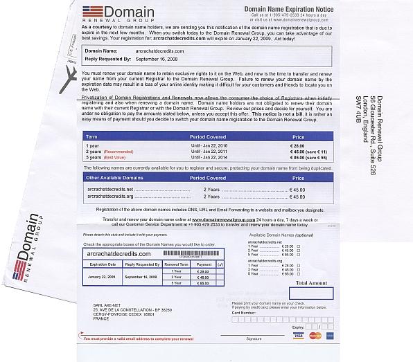 L'arnaque domain renewal group